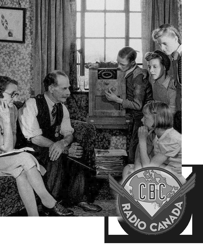 Family gathered around radio listening